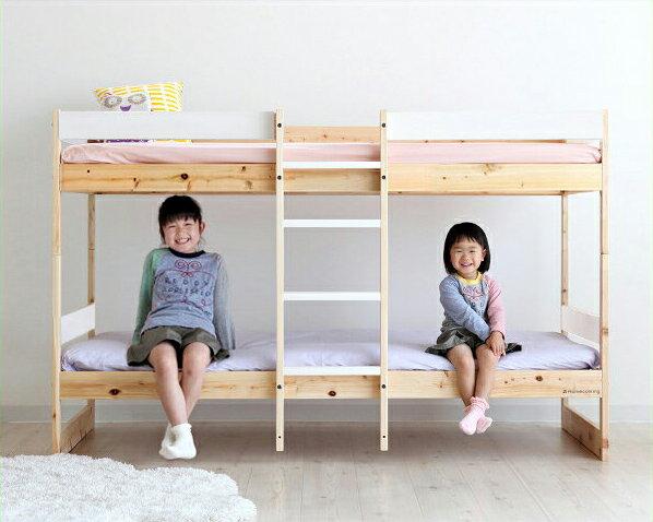 色とデザインを楽しむおしゃれな北欧テイストの国産ひのき二段ベッド/2段ベッド(ホワイト) 寝具 シンプル 日本製 モダン 子供用ベッド 子供用ベット ヒノキ 桧 檜 二段ベット 2段ベット 頑丈