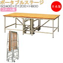 ポータブルステージ スチール製 天板木貼り 標準サイズ 高さ80cm 折りたたみ式 キャスター付き ステージ台 舞台 AL-0054