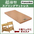 【送料無料】 フランスベッドのシングルサイズ固め、高反発、超薄型スプリングマットレス。2段ベッド使用OK。極薄国産マット高密度連続スプリングjm100 ロフトベッド ハードマット 耐久性が高い 通気性FranceBed【日本製】