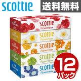 日本製紙クレシア スコッティ (SCOTTIE) ティッシュペーパー フラワーボックス 320枚(160組)5箱×12パック(60箱) 41270 ティシュペーパー まとめ買い ケース販売 ボックスティッシュ 【送料無料】