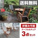 ガーデンマスター バタフライガーデンテーブル&チェア(3点セット) MFT-913BT/MFC-259D(2脚) 木製 折りたたみ ガーデンファニチャーセット ...