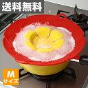 富士商 クッキングフラワー(Mサイズ) F7595 レッド シリコン 鍋蓋 【送料無料】