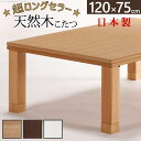 楢天然木国産折れ脚こたつ ローリエ 120×75cm こたつ テーブル 長方形 日本製 国産