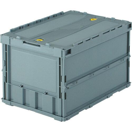 トラスコ(TRUSCO) 薄型折りたたみコンテナ 50Lロックフタ付 グレー TR-C50B