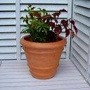 送料無料 リンディー テラコッタ色 32cm ファイバークレイ アンティークテラコッタ風 寒さにも強い植木鉢  軽量 シンプルモダン