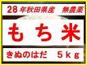 【新米】【28年産】【秋田県産】【無農薬】【きぬのはだ】安心で美味しいもち米5kg