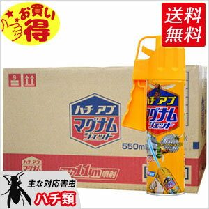 アシナガバチ、クマバチ、ミツバチ駆除スプレー ハチアブマグナムジェット 550ml×20本