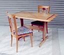 当店で出合ったテーブルと椅子の中から、相性がとっても良いカップルが誕生しました。世界に一つのダイニングセットです。チェリーカラーのアジアン・モダン・ダイニングセット