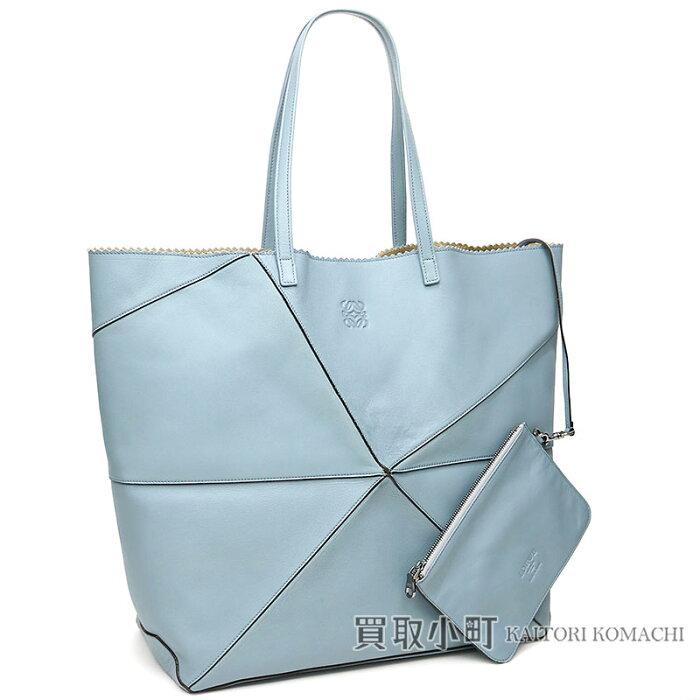 loewe折纸大手提包淡蓝色羊皮挎包购物袋变位字凸形花纹399.