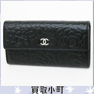 Chanel Camelia Emboss flap wallet black lambskin silver bracket CC mark zipper wallet Camellia motif Coco make wallet black A50084 Y01480 C0790 # 17 FLAP WALLET Camelia %