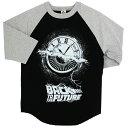 ユニセックス Tシャツ Back to the Future【バック トゥ ザ フューチャー Wheel of Time Raglan 五分丈 Tシャツ ブラック S M L】