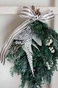 【クリスマスリース】【プリザーブドフラワー】クリスマススワッグ*フォレストグリーン* 玄関 ギフト/新築お祝い/お引越し祝い/