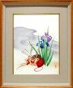 絵画 手染和紙額付 菖蒲に兜 (南川康夫) 送料無料 【肉筆】【エアブラシ】【花】【6号】