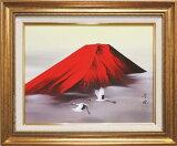 絵画 日本画 赤富士飛翔 (田中芳園)