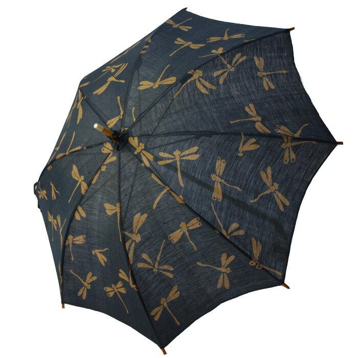 麻の日傘  シンプルなお仕立ての藍渋とんぼ 【送料無料】