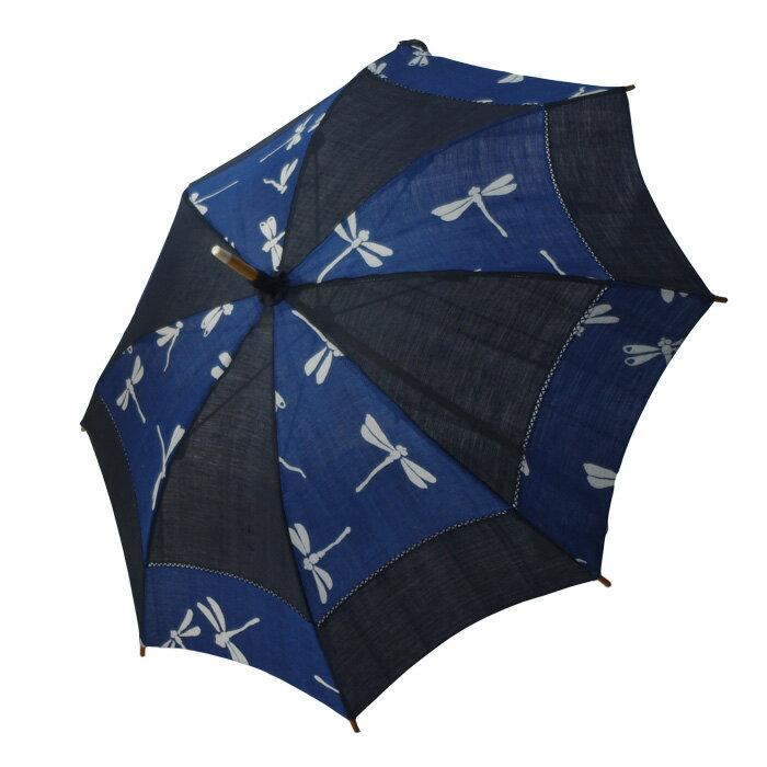 麻の日傘 藍染めと藍鉄染めの市松 とんぼ 【送料無料】