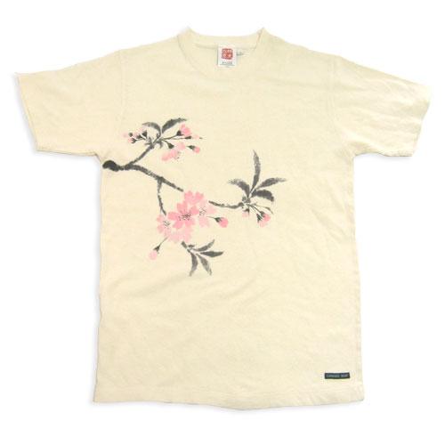 ヘンプコットン手描きTシャツ さくら