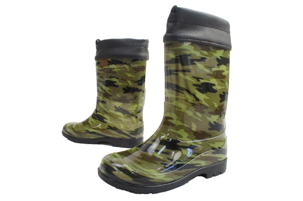 キッズ レインシューズ HJ-90-GREEN 19cm〜23cm グリーン カモフラ 迷彩 長靴 雨の日