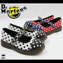 ドクターマーチン Dr.Martens 女の子 子供靴 キッズ チャイルド 15837010・15837410 CORE KIDS BAIRN ドット 水玉 BLACK/WHITE ブラック ホワイト RED/WHITE レッド ホワイト フラットシューズ ぺたんこ靴 マジックテープ ベルクロ evid