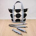 ドット柄帆布のトートバッグ(フタ+肩紐+車椅子ベル