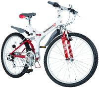 折りたたみ26インチ自転車マウンテンバイク MTB段差衝撃吸収ダブルサスペンションシマノ製TOURNEY18段変速ギア搭載Wサスペンション折り畳み式サイクルホワイト×レッドアクセントスポークSHIMANO LEVO SIFTERの画像