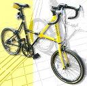 20インチ折り畳み自転車 クロスバイク DGイエロー×ブラッ...