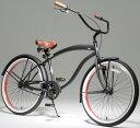 26インチ ビーチクルーザー 自転車 リップラインワイドハンドルに後輪がコースターブレーキの本格派サモアンタトゥーシートチューブ 西海岸とハワイを表現グレー×ハ...