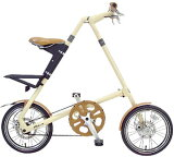 スムーズコンパクト 小径車16インチ折り畳み自転車制動力抜群の前後輪ディスクブレーキ採用油で袖が汚れることもないベルトドライブクリーム ブラック レッド ブラッシュ ホワイトSTR