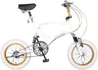 BMX Free Style Bike16インチコンパクト自転車極太タイヤ&鋲打ちテリーサドル3段変速ギア搭載で街乗りも楽々衝撃吸収ダブルサスペンション斬新フレームで小回りが利くブルー マットブラック ホワイト ダークシルバーWサス搭載ミニベロの画像