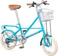 20インチシティーサイクル自転車ホッパーテリーサドルパイプリアキャリア6段変速ライトブルーブラウンダークグリーン