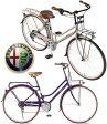 Alfa Romeo アルファロメオイタリアデザイン 27インチ自転車オールドスタイリッシュフレームシマノ製6段変速 フロント&リアキャリアプチ砲弾LEDオートライト 泥除けフェンダー リング錠シティーサイクル クロスバイクグレー ネイビーブルー