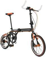 16インチ折りたたみ自転車ブラック×オレンジライン 軽量アルミフレーム シマノ製7段変速ブルホーンハンドルバー ツインチューブフレームスタイリッシュシティーサイクル小径車 ワイヤーロック&ライト フォールディングバイクの画像