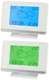 ウェザーステーション電波クロック暗闇でも時間をはっきり確認できるバックライト付き時間と月・日と気圧計・天気予報と温度計・湿度計をいっきに表示時間のズレも自動調整目覚まし時計 デスククロックスヌーズ機能付きアラームクロック 置き時計