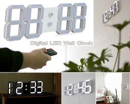リモコン付き目覚まし時計暗闇でも確認できる壁掛け時計ウォールクロック ホワイト ブラック立体デジタル表示 ホワイトLEDデザインクロック目覚まし時計 アラームクロック置き時計 デスククロック