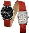 D&G TIME WATCH Davidドルチェ&ガッバーナウォッチ デイビッドDW0047 DW0048二連ベルトに異なる二つのフェイス腕時計 アナログ ダブルフェイスDOLCE&GABBANA ドルガバクロノグラフ レザーバンドツインウォッチ デュアルタイム