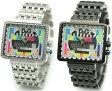 DOLCE&GABBANAD&G 腕時計ドルガバ アナログウォッチスクエアフェイス メディスンマンカラフル文字盤×メタルバンド シルバー ブラックMEDICINE MANDW0753 DW0754ディー&ジー メンズドルチェ&ガッバーナアクセサリー