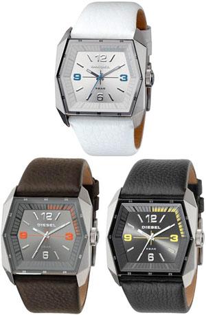 ディーゼル 腕時計DIESEL watchダークブラウン DZ1291ブラック DZ1292ホワイト DZ1290アナログウォッチメンズ ウォッチヘキサフェイス型押しレザーバンド