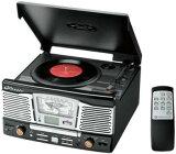 SDカードやUSBメモリのMP3ファイルも再生アンティーククラシックレコードプレイヤー&CDプレイヤー&FMラジオ&AMラジオマルチジュークボックス ブラックターンテーブル リモコ