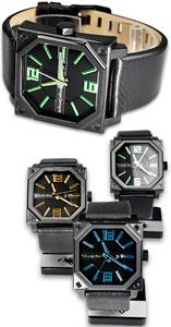 スタイリッシュLED腕時計イギリス ロンドンブランド ウォッチヘキサフォース WATCH日付け表示ブラック×グリーンブラック×ブルーブラック×オレンジシルバー×ブラウン