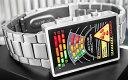 未来系LED腕時計 メンズウォッチスクエアブラックフェイスマルチカラーLEDシルバーステンレスベルト見せる機能 アニメーションプログラ..