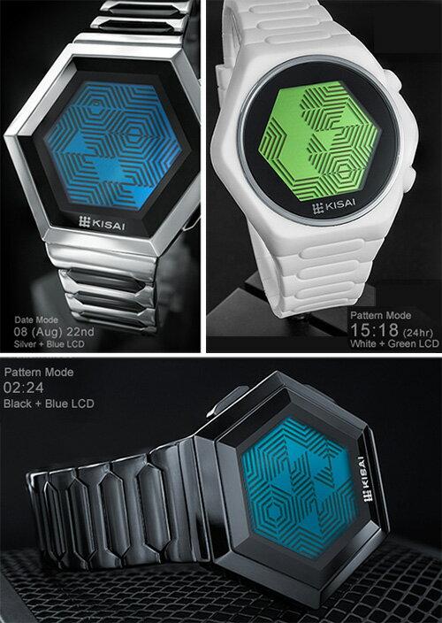未来系LED腕時計 ユニークウォッチ八角形のディスプレイフェイスわかる人だけが解読できるカモフラージュパターン表示も可能メタルバンド シルバー ブラックシリコンバンド ホワイト ブラックLCD ブルー グリーン レッド ミラーレディース メンズ