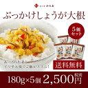 【送料無料】ぶっかけしょうが大根 5個セットあっさり生姜とピリ辛大根でご飯がススム