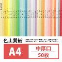 色上質紙 中厚口 A4 50枚 肌【カラーペーパー カラー用紙 画用紙 色紙 POP用紙 インジェット用紙】