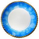 5色セット菊型紙皿スノウ7号170mm(赤・青・緑・橙・桃)おしゃれで可愛いパーティ用使い捨て紙皿