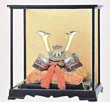 【五月人形】28-20出世 源義経公兜 PC製ガラスケース付き 【送料無料】