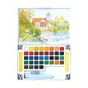 水彩画 透明固形水彩絵の具 スケッチセット プチカラー 36色セット パレット 水筆付き 携帯用 ミニ 小型