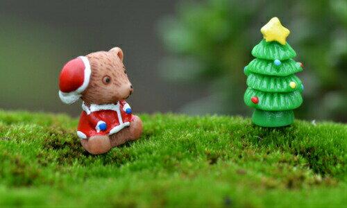 くま2色、クリスマスツリーセット 約1.7*2cm テラリウムフィギュア ミニチュア ミニフィギュア コケリウム