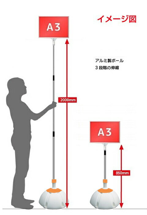 伸縮 差替式 (本体のみ) 軽量 【3本セット】 プラカード看板 手持ち看板 A3-両面