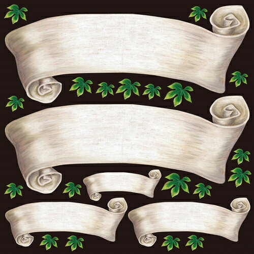 シール 無地 りぼん風 アイボリー色 装飾 デコレーションシール チョークアート 窓ガラス 黒板 看板 POP ステッカー 用