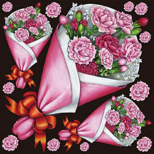シール 花束 カーネーション 装飾 デコレーションシール チョークアート 窓ガラス 黒板 看板 POP ステッカー 用